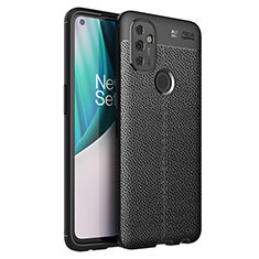 Coque Silicone Gel Motif Cuir Housse Etui pour OnePlus Nord N100 Noir