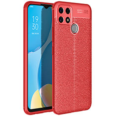 Coque Silicone Gel Motif Cuir Housse Etui pour Oppo A15 Rouge