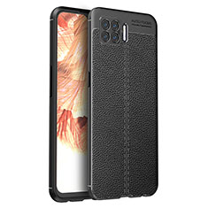 Coque Silicone Gel Motif Cuir Housse Etui pour Oppo A73 (2020) Noir