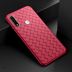 Coque Silicone Gel Motif Cuir Housse Etui pour Oppo A8 Rouge