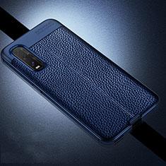 Coque Silicone Gel Motif Cuir Housse Etui pour Oppo Find X2 Bleu