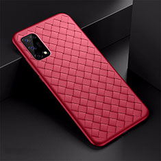 Coque Silicone Gel Motif Cuir Housse Etui pour Oppo K7x 5G Rouge