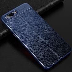 Coque Silicone Gel Motif Cuir Housse Etui pour Oppo R17 Neo Bleu