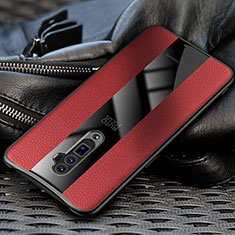 Coque Silicone Gel Motif Cuir Housse Etui pour Oppo Reno 10X Zoom Rouge