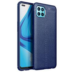Coque Silicone Gel Motif Cuir Housse Etui pour Oppo Reno4 Lite Bleu