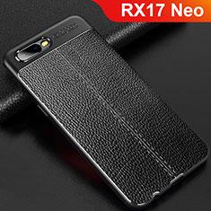 Coque Silicone Gel Motif Cuir Housse Etui pour Oppo RX17 Neo Noir