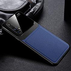 Coque Silicone Gel Motif Cuir Housse Etui pour Realme X50m 5G Bleu