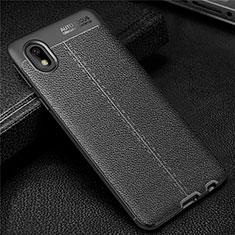 Coque Silicone Gel Motif Cuir Housse Etui pour Samsung Galaxy A01 Core Noir