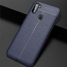 Coque Silicone Gel Motif Cuir Housse Etui pour Samsung Galaxy A11 Bleu