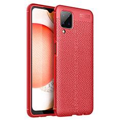 Coque Silicone Gel Motif Cuir Housse Etui pour Samsung Galaxy A12 Rouge