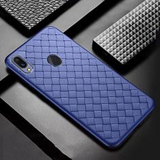 Coque Silicone Gel Motif Cuir Housse Etui pour Samsung Galaxy A30 Bleu