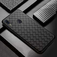 Coque Silicone Gel Motif Cuir Housse Etui pour Samsung Galaxy A30 Noir