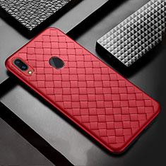 Coque Silicone Gel Motif Cuir Housse Etui pour Samsung Galaxy A30 Rouge