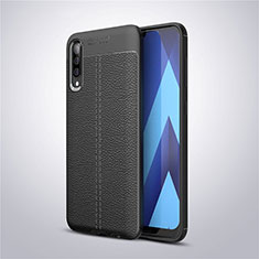Coque Silicone Gel Motif Cuir Housse Etui pour Samsung Galaxy A30S Noir