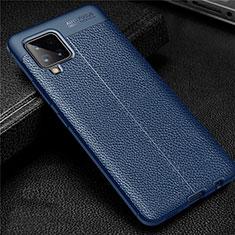 Coque Silicone Gel Motif Cuir Housse Etui pour Samsung Galaxy A42 5G Bleu