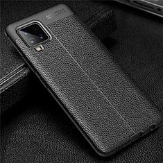 Coque Silicone Gel Motif Cuir Housse Etui pour Samsung Galaxy A42 5G Noir