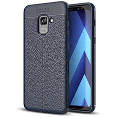 Coque Silicone Gel Motif Cuir Housse Etui pour Samsung Galaxy A5 (2018) A530F Bleu