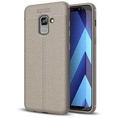 Coque Silicone Gel Motif Cuir Housse Etui pour Samsung Galaxy A5 (2018) A530F Gris