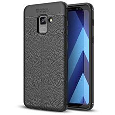 Coque Silicone Gel Motif Cuir Housse Etui pour Samsung Galaxy A5 (2018) A530F Noir