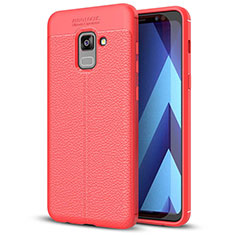 Coque Silicone Gel Motif Cuir Housse Etui pour Samsung Galaxy A5 (2018) A530F Rouge