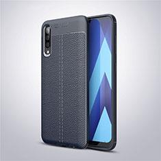 Coque Silicone Gel Motif Cuir Housse Etui pour Samsung Galaxy A50 Bleu