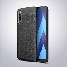 Coque Silicone Gel Motif Cuir Housse Etui pour Samsung Galaxy A50 Noir