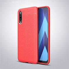 Coque Silicone Gel Motif Cuir Housse Etui pour Samsung Galaxy A50 Rouge