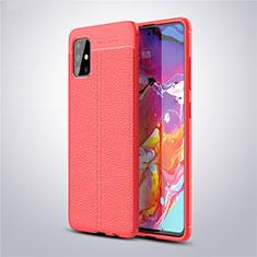 Coque Silicone Gel Motif Cuir Housse Etui pour Samsung Galaxy A51 5G Rouge