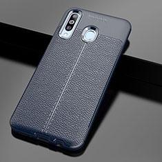 Coque Silicone Gel Motif Cuir Housse Etui pour Samsung Galaxy A60 Bleu
