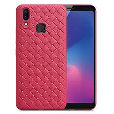 Coque Silicone Gel Motif Cuir Housse Etui pour Samsung Galaxy A6s Rouge