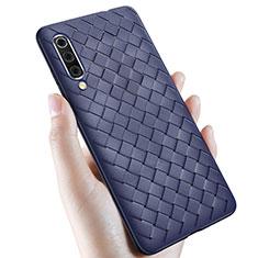Coque Silicone Gel Motif Cuir Housse Etui pour Samsung Galaxy A70 Bleu