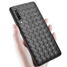 Coque Silicone Gel Motif Cuir Housse Etui pour Samsung Galaxy A70 Noir