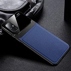 Coque Silicone Gel Motif Cuir Housse Etui pour Samsung Galaxy A71 5G Bleu