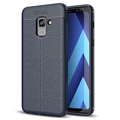Coque Silicone Gel Motif Cuir Housse Etui pour Samsung Galaxy A8+ A8 Plus (2018) A730F Bleu