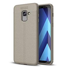 Coque Silicone Gel Motif Cuir Housse Etui pour Samsung Galaxy A8+ A8 Plus (2018) Duos A730F Gris