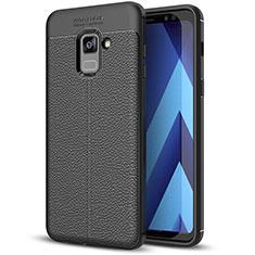 Coque Silicone Gel Motif Cuir Housse Etui pour Samsung Galaxy A8+ A8 Plus (2018) Duos A730F Noir