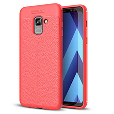 Coque Silicone Gel Motif Cuir Housse Etui pour Samsung Galaxy A8+ A8 Plus (2018) Duos A730F Rouge