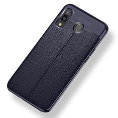 Coque Silicone Gel Motif Cuir Housse Etui pour Samsung Galaxy A8 Star Bleu