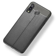 Coque Silicone Gel Motif Cuir Housse Etui pour Samsung Galaxy A8 Star Gris
