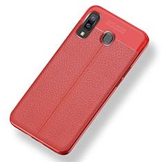 Coque Silicone Gel Motif Cuir Housse Etui pour Samsung Galaxy A8 Star Rouge