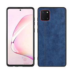 Coque Silicone Gel Motif Cuir Housse Etui pour Samsung Galaxy A81 Bleu