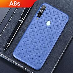 Coque Silicone Gel Motif Cuir Housse Etui pour Samsung Galaxy A8s SM-G8870 Bleu