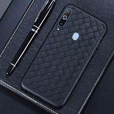 Coque Silicone Gel Motif Cuir Housse Etui pour Samsung Galaxy A8s SM-G8870 Noir