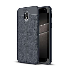 Coque Silicone Gel Motif Cuir Housse Etui pour Samsung Galaxy J3 (2018) SM-J377A Bleu