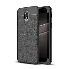 Coque Silicone Gel Motif Cuir Housse Etui pour Samsung Galaxy J3 Star Noir