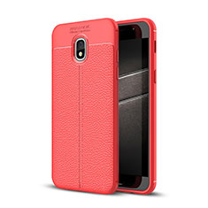 Coque Silicone Gel Motif Cuir Housse Etui pour Samsung Galaxy J3 Star Rouge