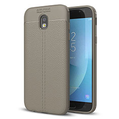 Coque Silicone Gel Motif Cuir Housse Etui pour Samsung Galaxy J5 (2017) Duos J530F Gris