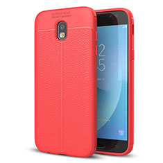 Coque Silicone Gel Motif Cuir Housse Etui pour Samsung Galaxy J5 (2017) Duos J530F Rouge