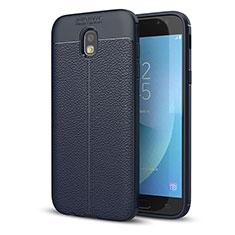 Coque Silicone Gel Motif Cuir Housse Etui pour Samsung Galaxy J5 (2017) SM-J750F Bleu