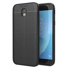 Coque Silicone Gel Motif Cuir Housse Etui pour Samsung Galaxy J5 (2017) SM-J750F Noir